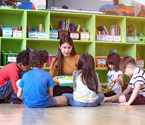 Teacher showing book to a group of children sitting on the floor